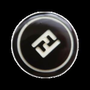 【VINTAGE FENDI BUTTON】ブラック ロゴ ボタン 18mm F-20003