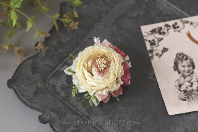 ラナンキュラスとエレガントピンクのお花のコサージュ(ヘッドドレス可) 卒業式 入学式 卒園式 入園式 フォーマル 謝恩会 ママコーデ 謝恩会 結婚式