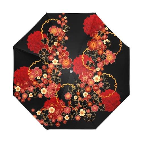 桜家紋蝶家紋 折りたたみ日傘