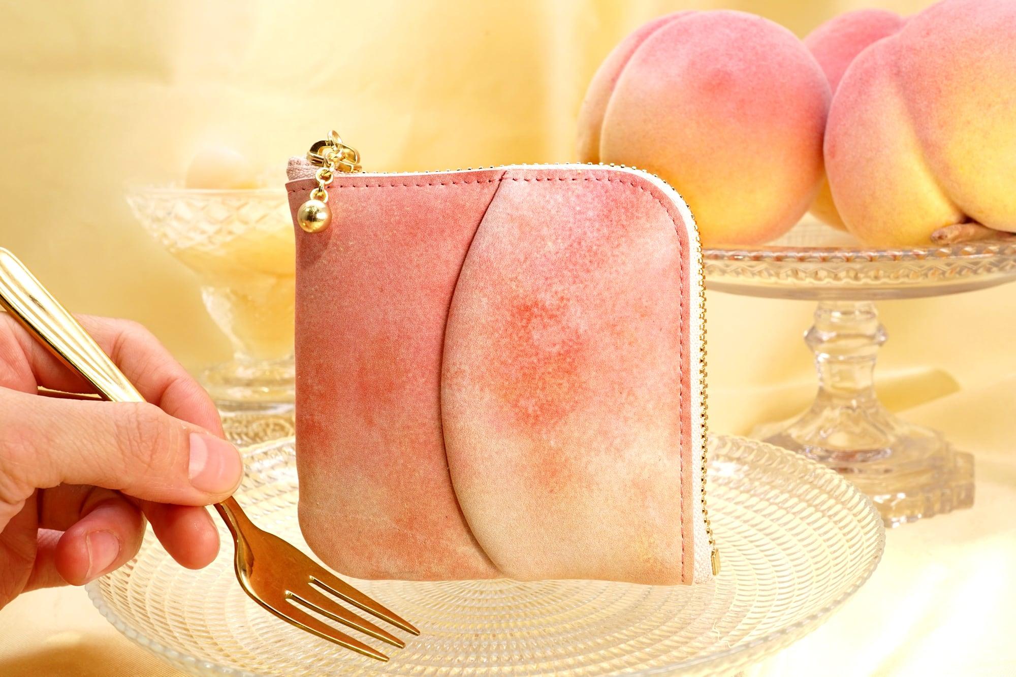 桃なL字ファスナーコンパクト財布(牛革製)