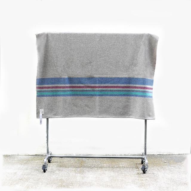 loomer (ルーマー) Shetland Wool Border Blanket Big 【Gray Border】(ブランケット・ウール)