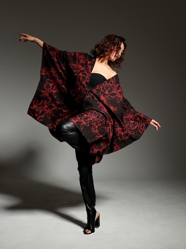 着物ポンチョ(Kimono poncho)Red folwer