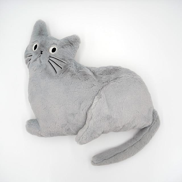 猫クッション(ミミクッション)ライトグレー