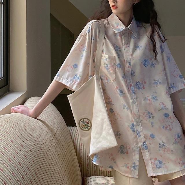 花柄半袖オーバーサイズシャツ LYLL6500