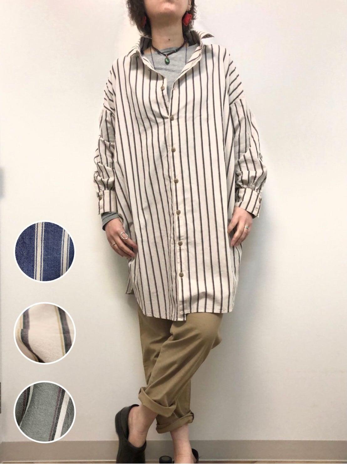 【ONEWASH】BIGシャツ ストライプ