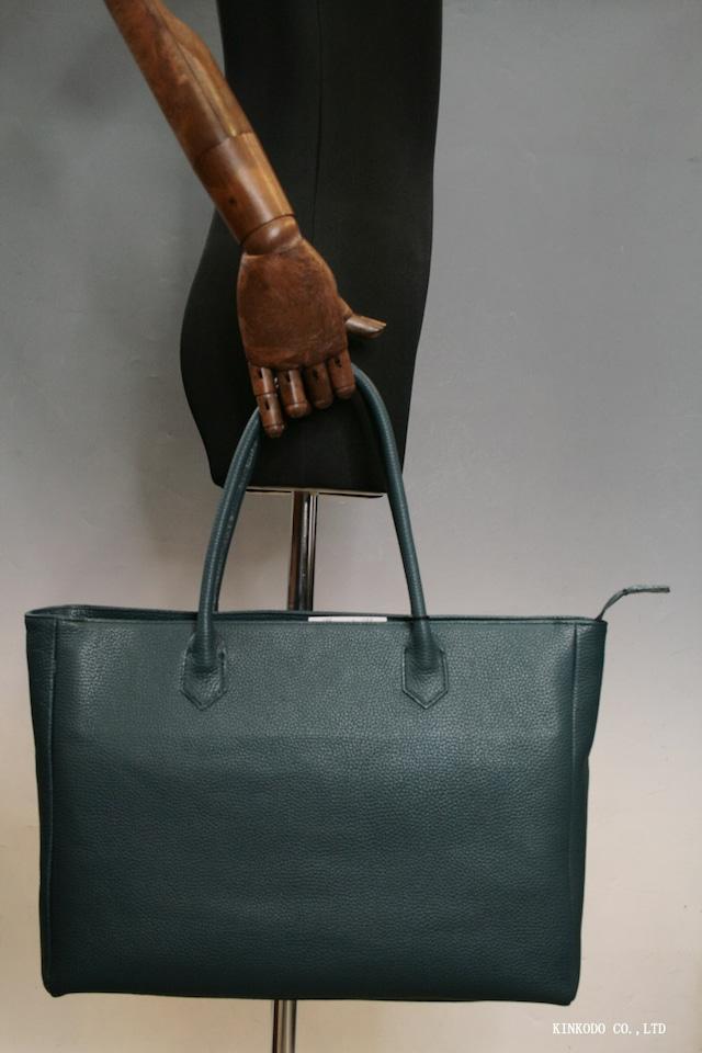 イタリアンレザーのグリーンのしぼ革を使った自立型の日本製のトートバッグ裏地はカーキ色