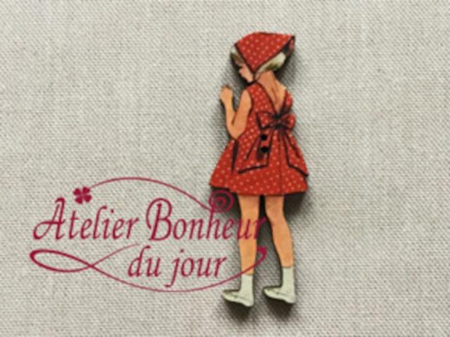 フランス製 木製ボタン アトリエ ボヌール ドゥ ジュール 【後ろ向きの女の子】