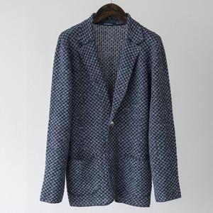 リネン チェッカードパターン ニットジャケット