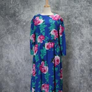 レディース 90年代 USA製 花柄 マキシワンピース アメリカ古着 ブルー M〜L