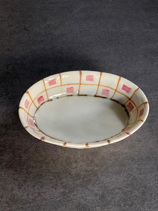 中尾万作 桃キューブ格子楕円小鉢