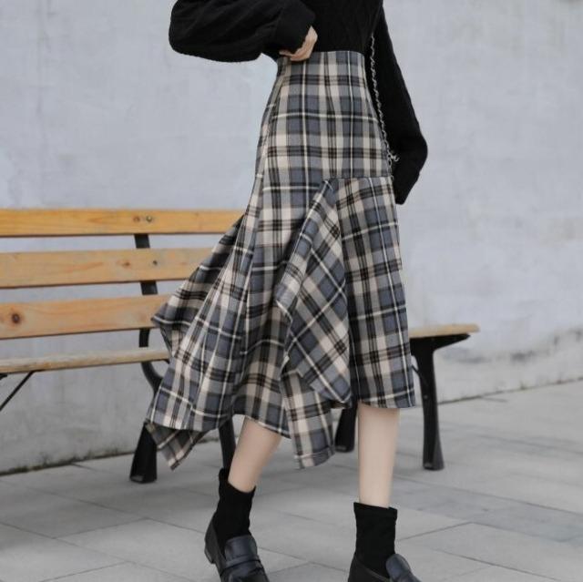 チェック柄アシンメトリーマーメイドスカート