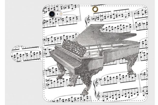 (iPhone用)ピアノの手帳型スマホケース(楽譜)