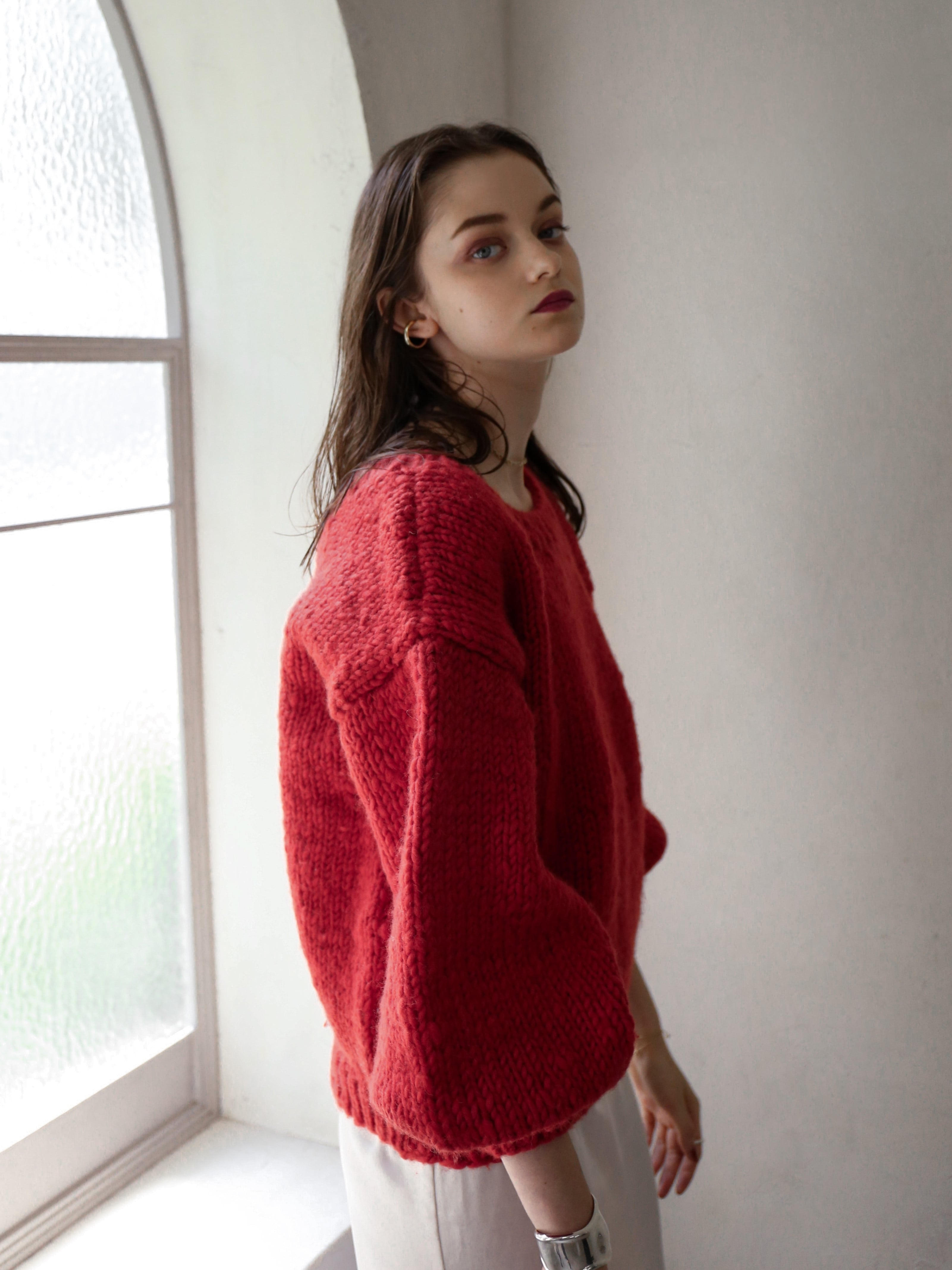 2way handmade knit(red)