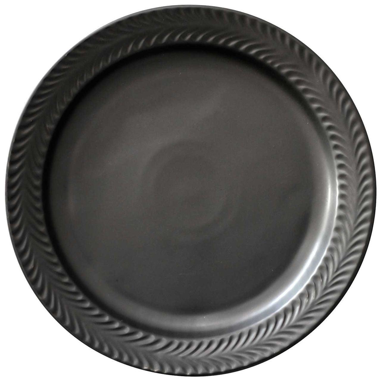 波佐見焼 翔芳窯 ローズマリー リムプレート 皿 約24cm マットブラック 33379