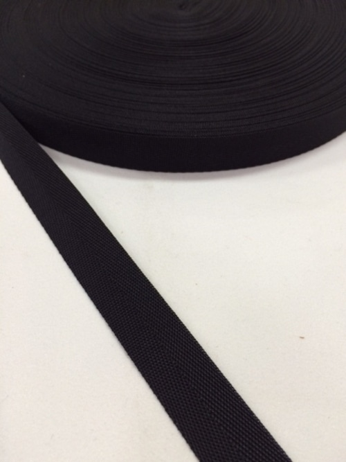 ナイロン 杉綾織(綾テープ) 16mm幅 黒 1mカット