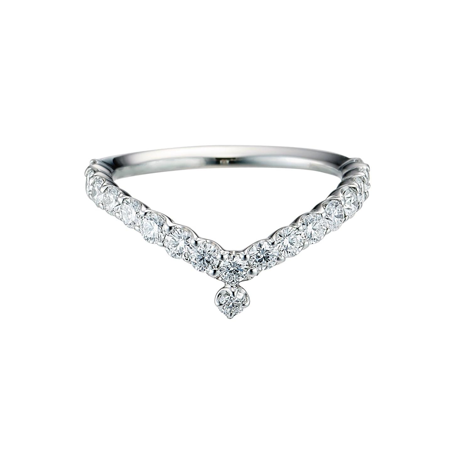 Everlasting Ring with a Diamond Drop / Pt900 3EX H&C Diamond