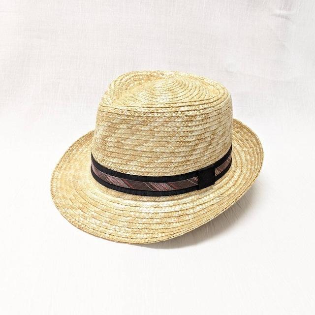 【帽子】中折れ麦わらHat 粋なbrown