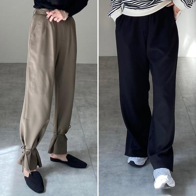 ◆即納◆ハイウエスト裾リボンしぼり2wayロングパンツ  OP-t259
