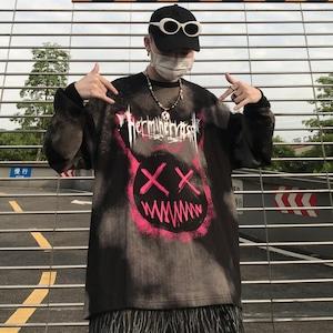 【トップス】笑顔図柄暗黒系男女兼用韓国系長袖Tシャツ52451416