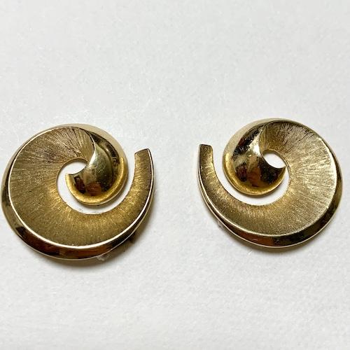 Vintage Trifari Gold Tone Modernist Design Earrings