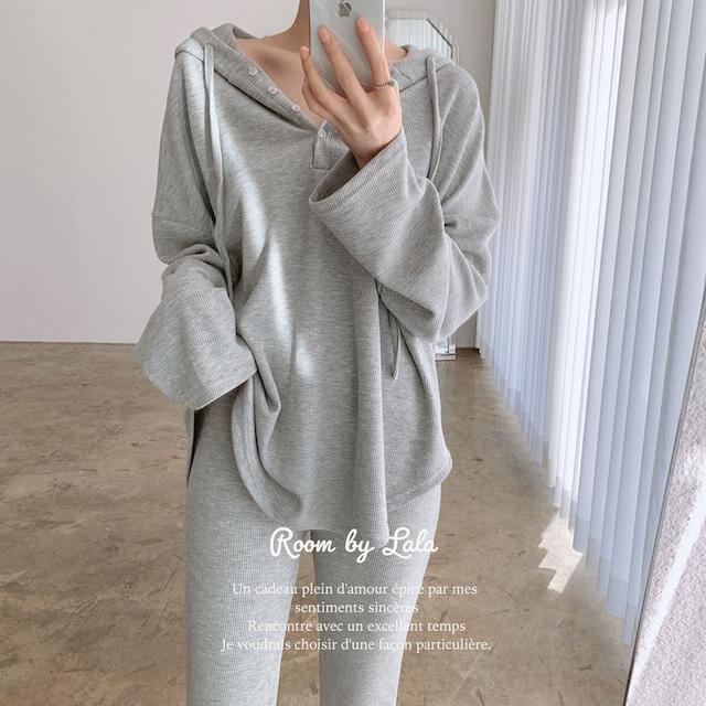 【即納】hooded casual long-sleeved T-shirt / トップス(gray)/ LE202330