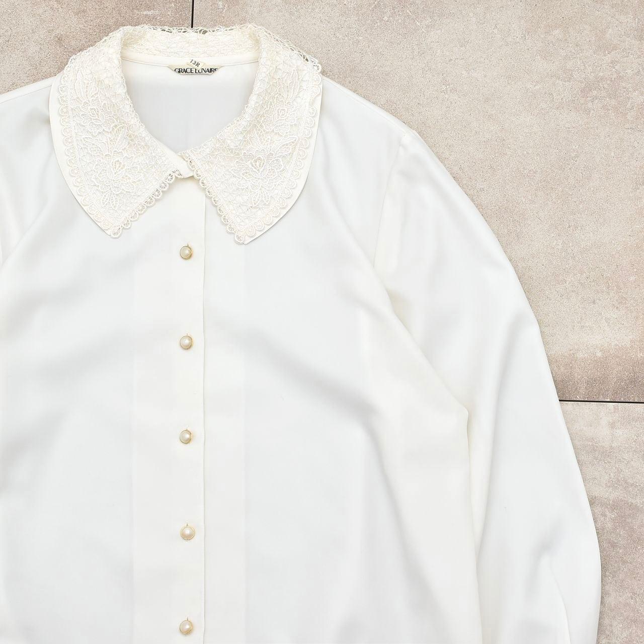 Jp vtg lace double collar design blouse