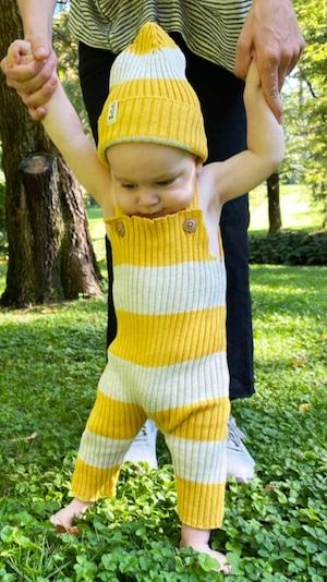 【21AW】BaYiRi(バイリ) dungaree BABY salopetto  yellow×stripe [6m/12m/18m] サロペット