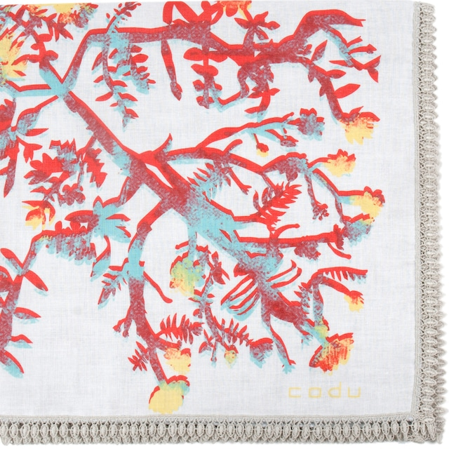 花を編む/ホワイト【ひびのこづえ】 ハンカチ