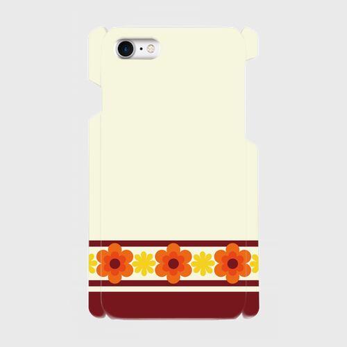 昭和デザイン花(橙・黄) / iPhoneスマホケース(ハードケース)