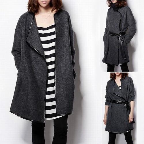 ウールコート PUベルト付 韓国 ファッション レディース スタンドカラー コート 美ライン (DCT-580325459316)