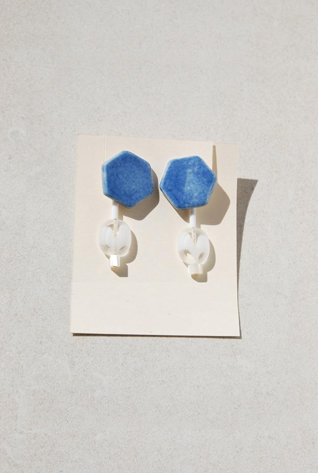 ピアス: Czech Beads &[2WAY]特製陶製タイル 「爽快な朝」
