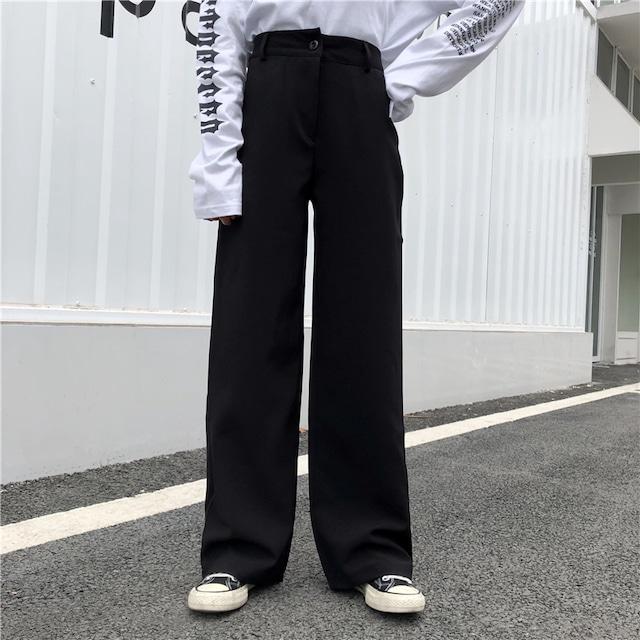 【ボトムス】細見え効果抜群シンプルハイウエストカジュアルパンツ43313552