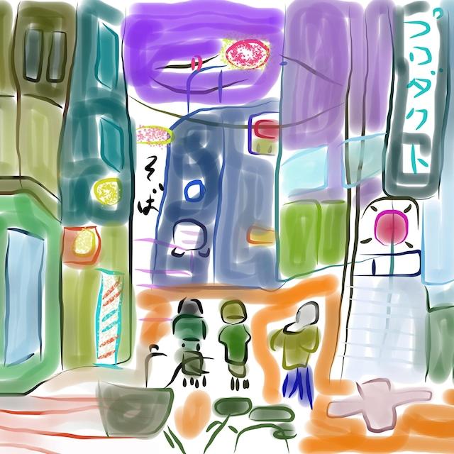 絵画 インテリア アートパネル 雑貨 壁掛け 置物 おしゃれ 風景画 アブストラクトアート 街 ロココロ 画家 : YUTA SASAKI 作品 : 街へ