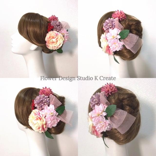 成人式 卒業袴 和装髪飾り♡ラナンキュラスと桜の髪飾り (Uピン7本セット)