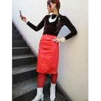 Euro red leather tight skirt
