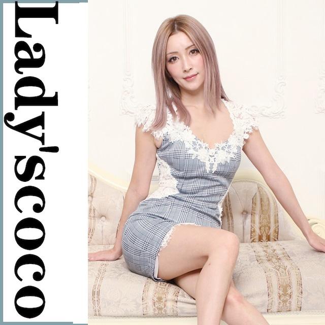 刺繍ドレス チェック柄とネイビーブルーの2色YN1024