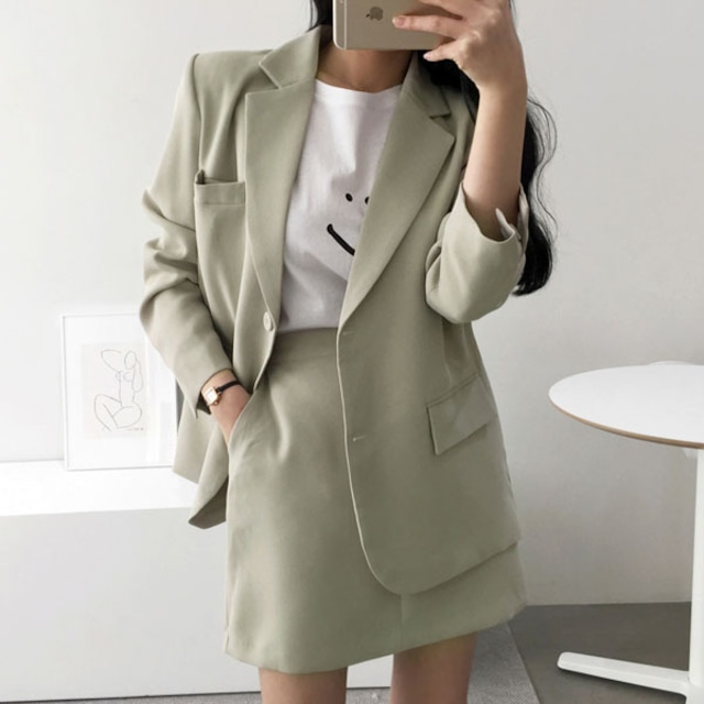 2021SS シンプルかわいいジャケット+ミニスカート ツーピース S1240