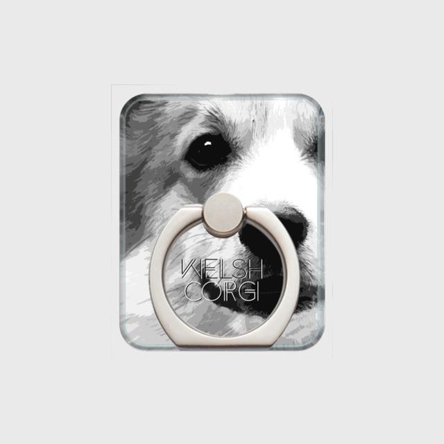 ウェルシュコーギー おしゃれな犬スマホリング【IMPACT -shirokuro- 】