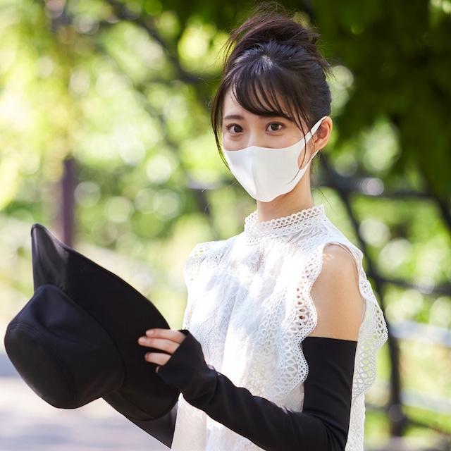 「さらピッタ」®シロ×シロ + 樹脂ワイヤー同送 夏用マスク  無地マスク2枚セット 接触冷感・UVカット・吸汗速乾