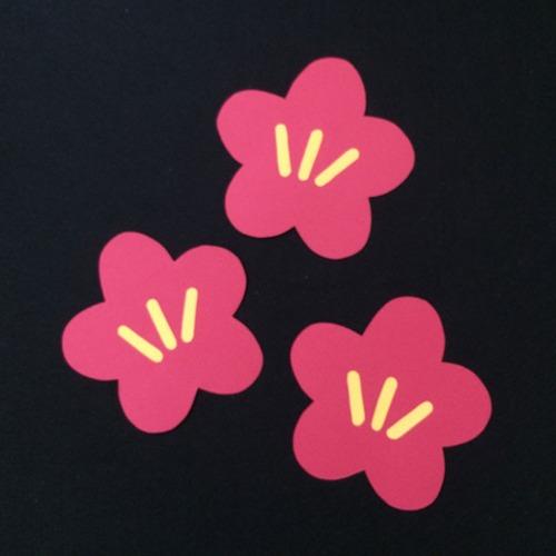 梅の花(赤)の壁面装飾
