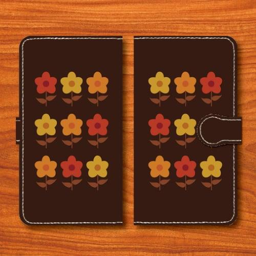 昭和レトロ/花柄/昭和食器調/焦げ茶色/Androidスマホケース(手帳型ケース)
