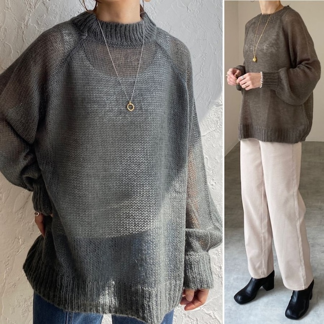 ◆即納◆オーバーサイズざっくり透かし編みモヘアタッチニット  OP-t255