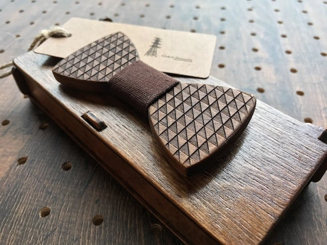木製 蝶ネクタイ #Chocolat - 画像1