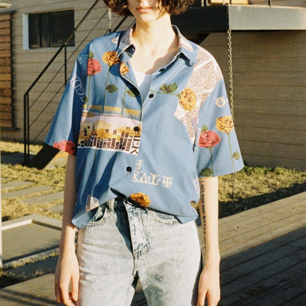 ローズモチーフボーイフレンドシャツ(ブルー)  ボーイフレンドシャツ レディース アメリカン レトロ ビッグシルエット