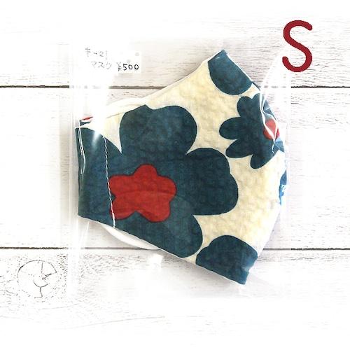 【とーすとん】立体布マスク(北欧花)・キッズサイズ/マスク