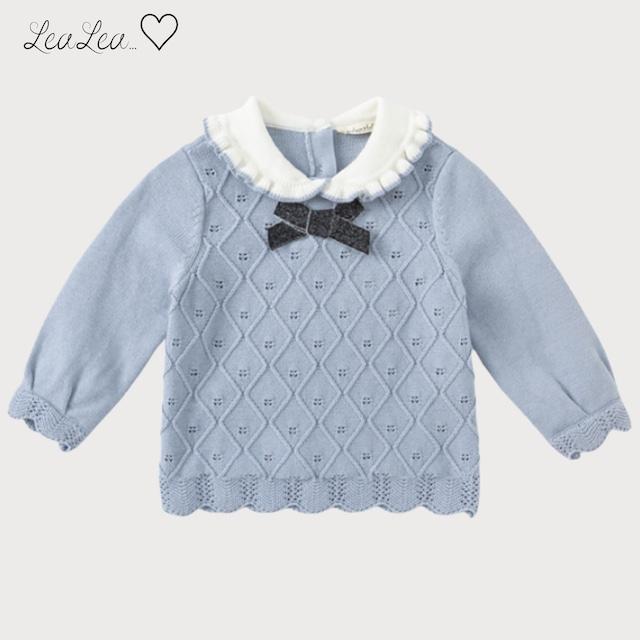 dave&bella2021AW新作♡フリルデザインブルーかぎ編み風ニット(73cm-140cm) LeaLea...♡(レアレア)-海外の子供服セレクトショップ