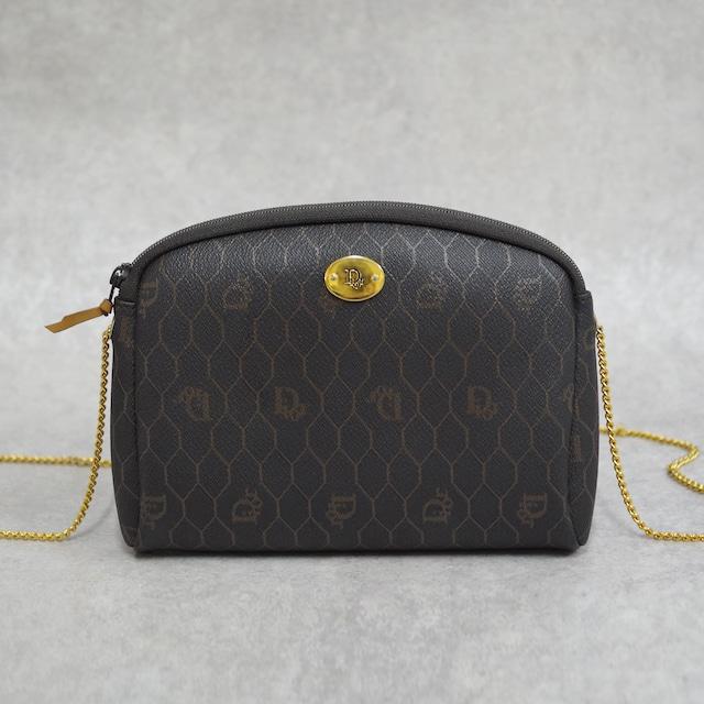 Christian Dior ディオール ハニカム柄 チェーンショルダーバッグ ダークグレー