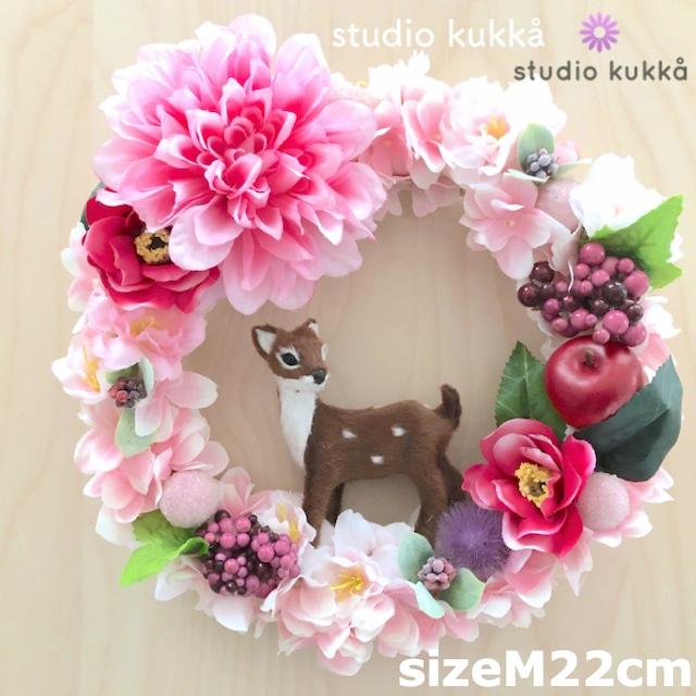 *送料無料*<受注製作> 直径22cm(Mサイズ)♡バンビと椿と桜のリース ピンクダリアグラデミックス ひな祭り アップル ベリー アジサイ