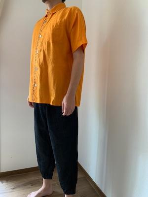 メンズ ハーフスリーブリネンシャツ