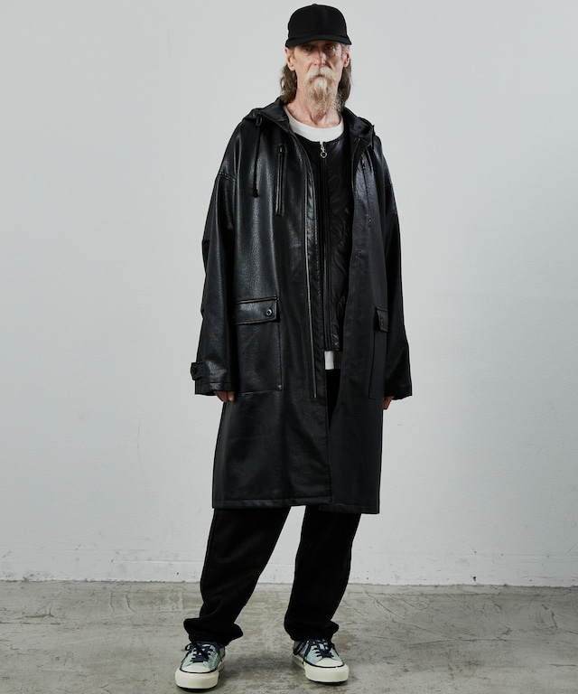 UNSELDs old leather Mods coat Black